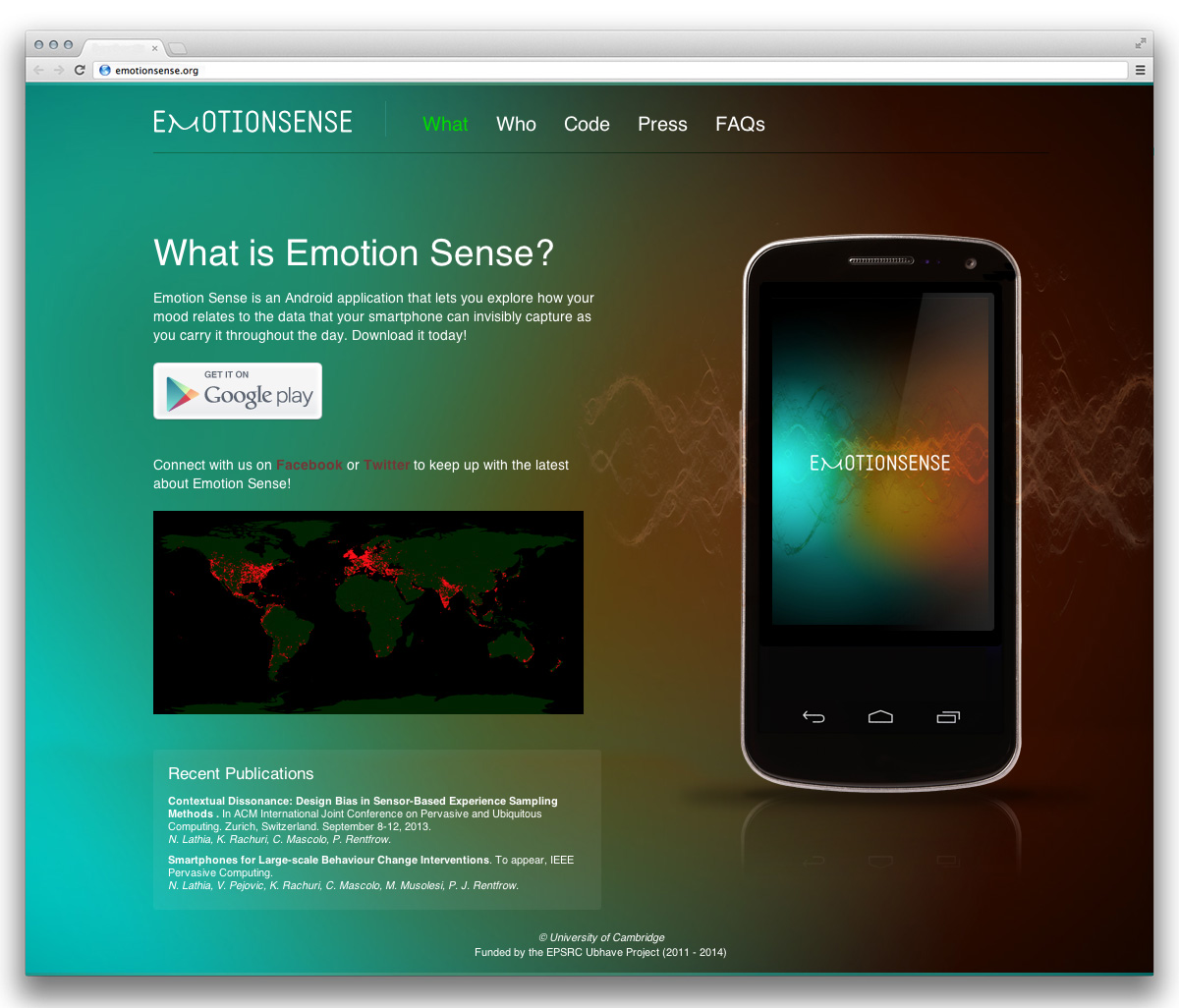 EmotionSense Android App homepage