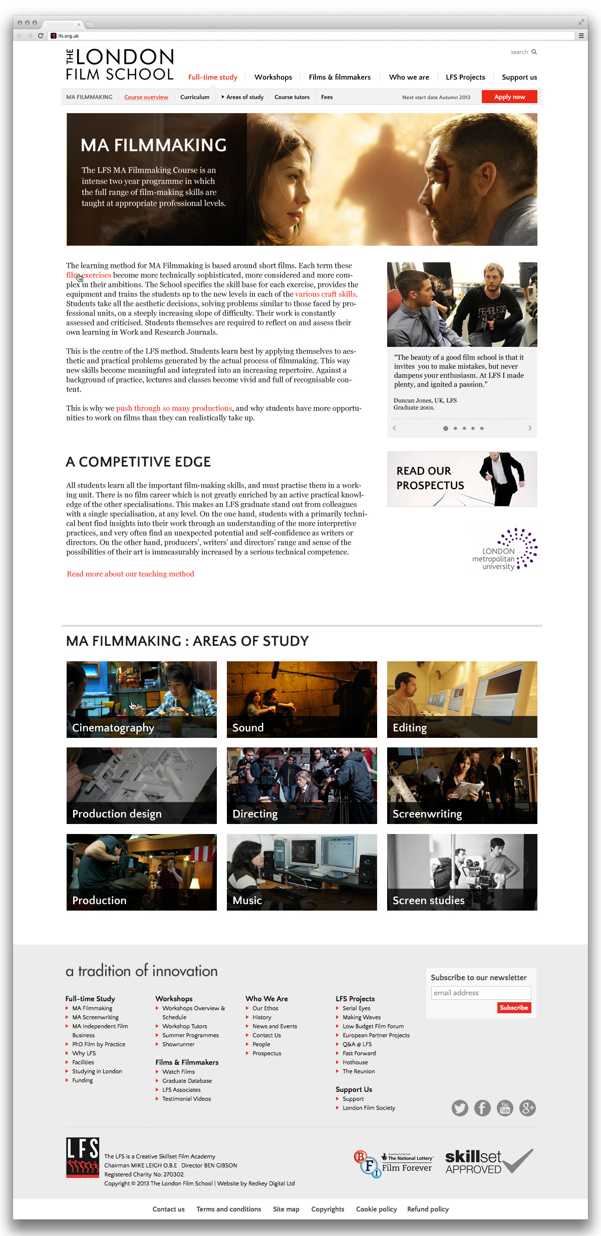 London Film School course page