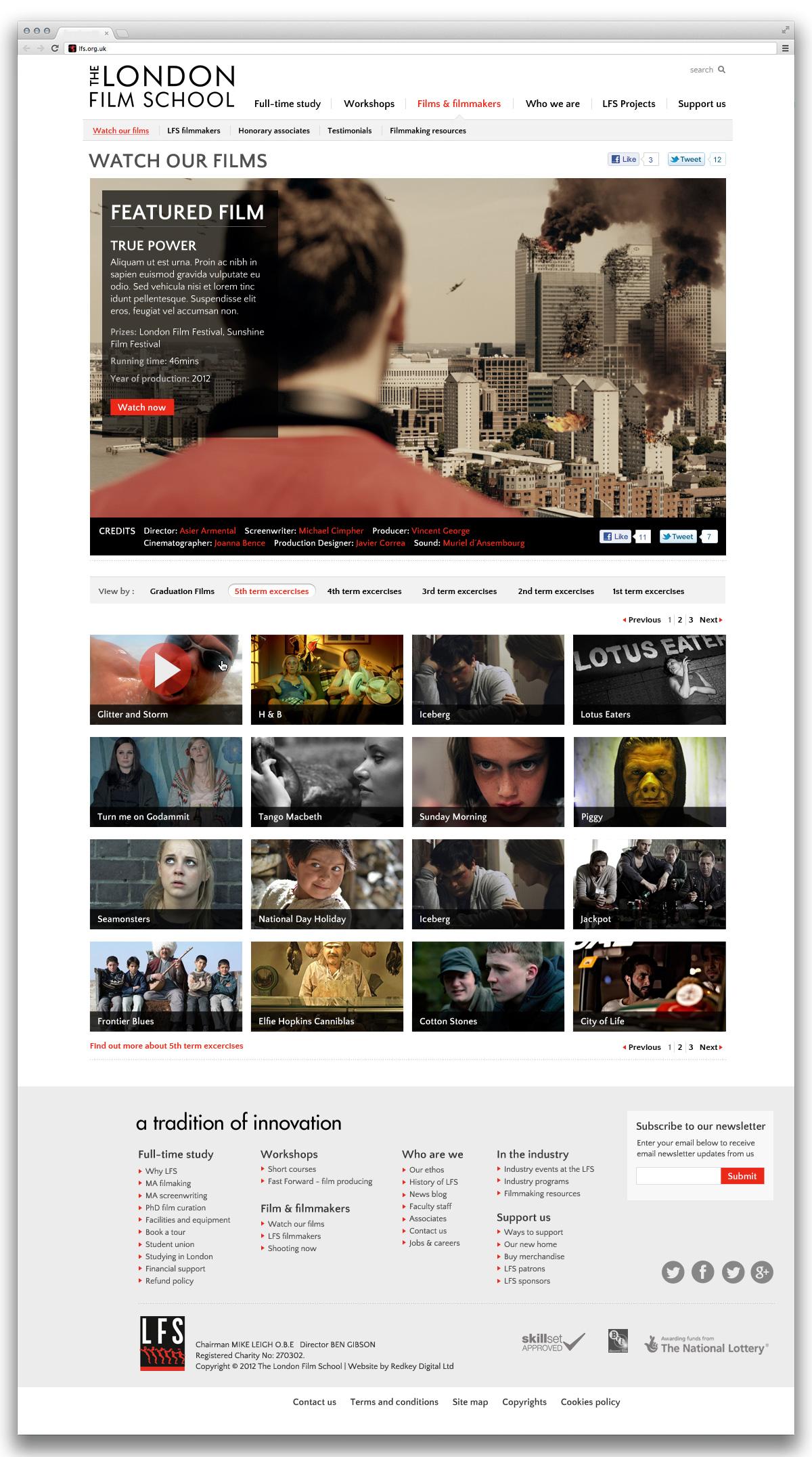 London Film School screening room page