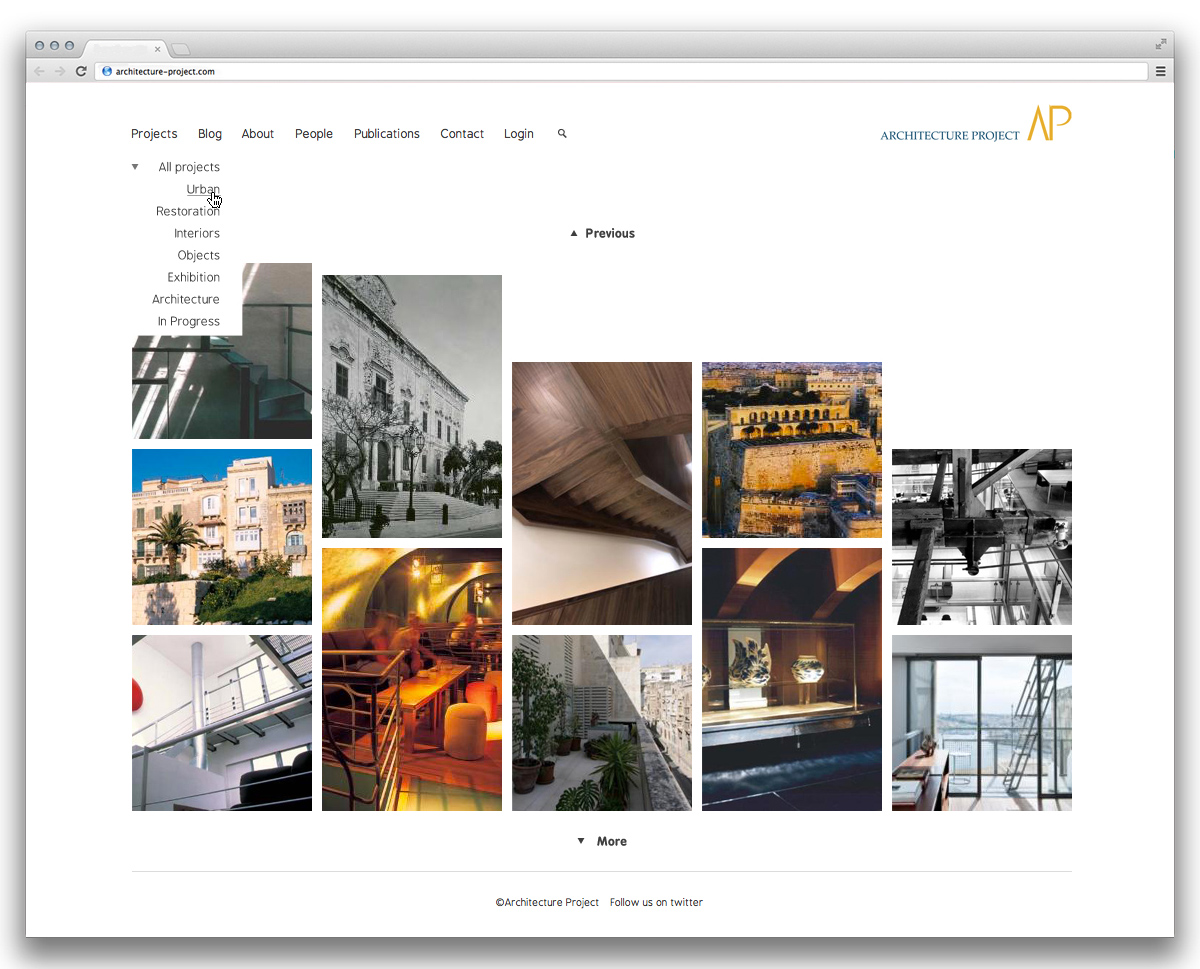 Architecture Project projects listing page