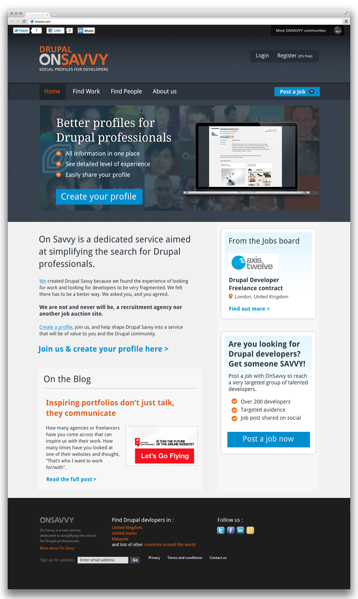 Drupal on Savvy home page