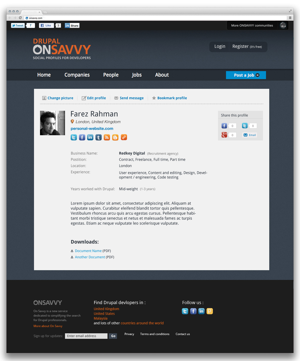 Drupal on Savvy profile page