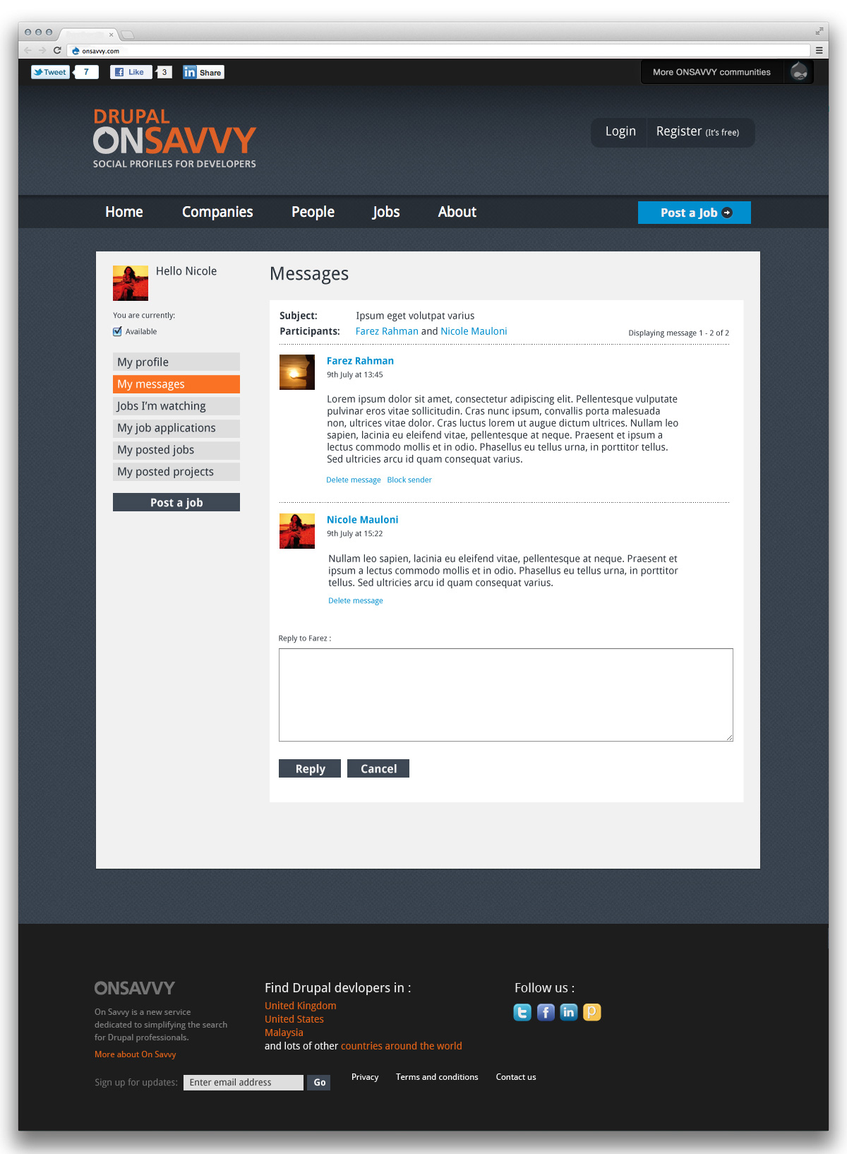 Drupal on Savvy messages page