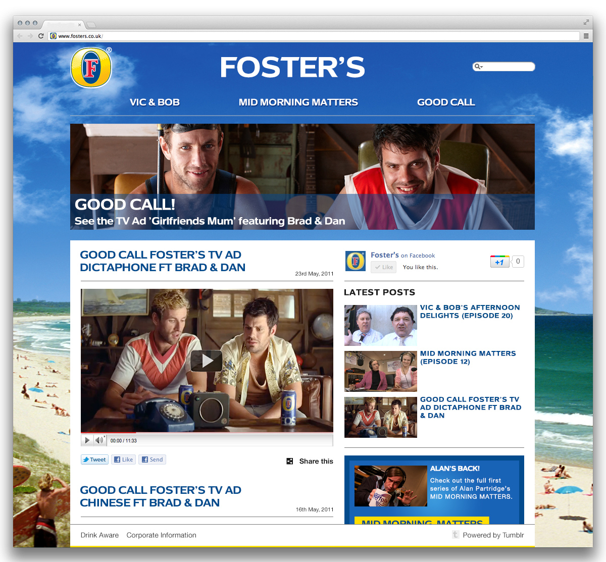 Foster's Tumblr Homepage