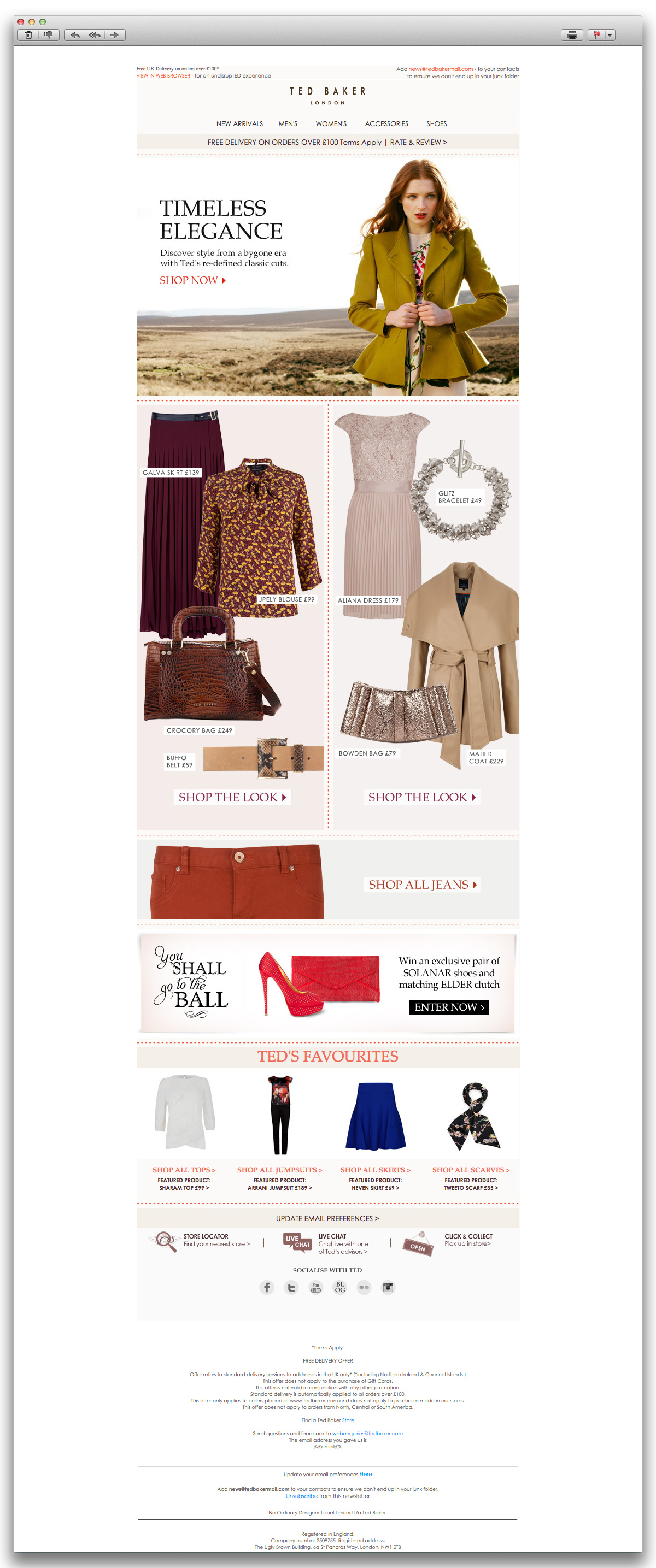 Ted Baker HTML email