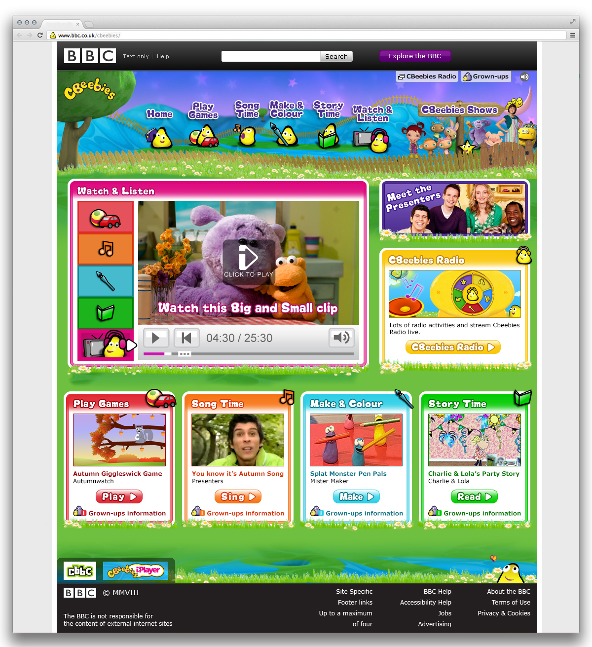 Cbeebies Home Page Night