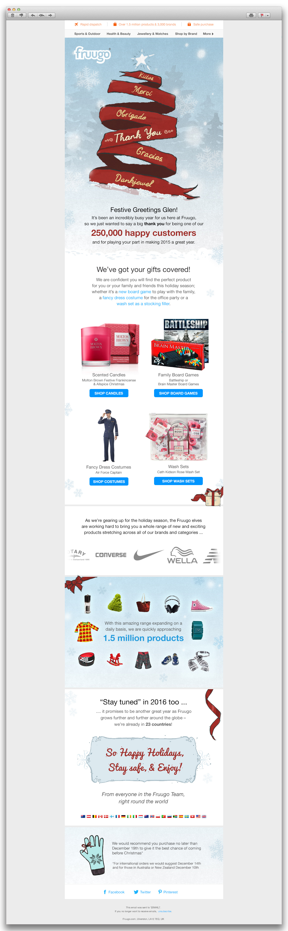 Fruugo HTML Christmas email
